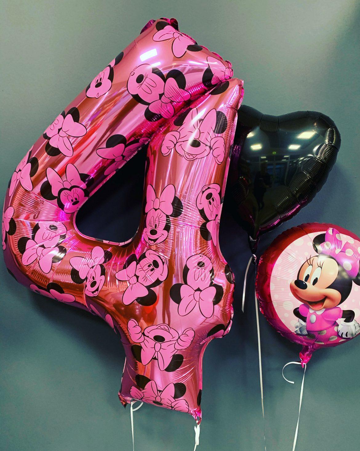 Heliumballon Zahl 4 mit Minniemaus