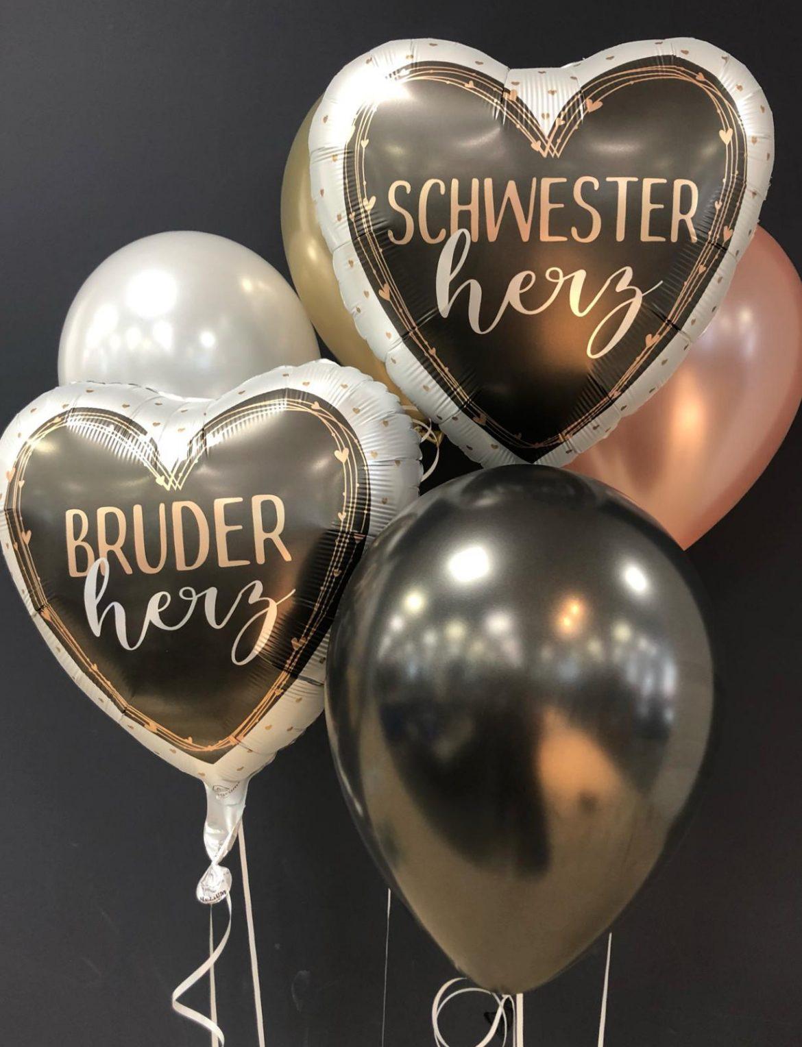 Heliumballon Schwesterherz und Bruderherz