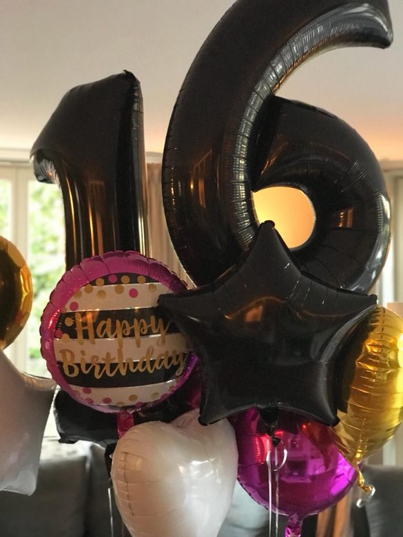 Zahlenballons 16 schwarz