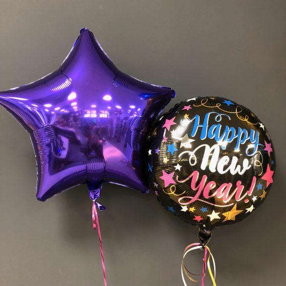 Helium-Ballon Happy New Year blau, rot, weiss