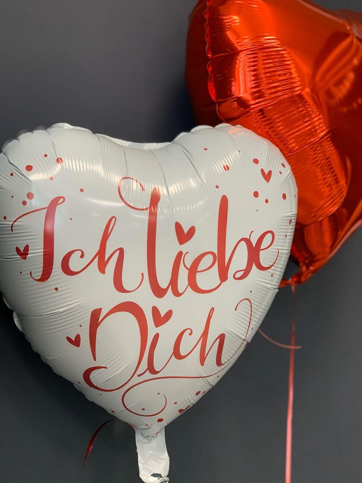 Ballon Ich Liebe Dich in weiß und rot € 5,90 und rotes Herz € 4,50 1