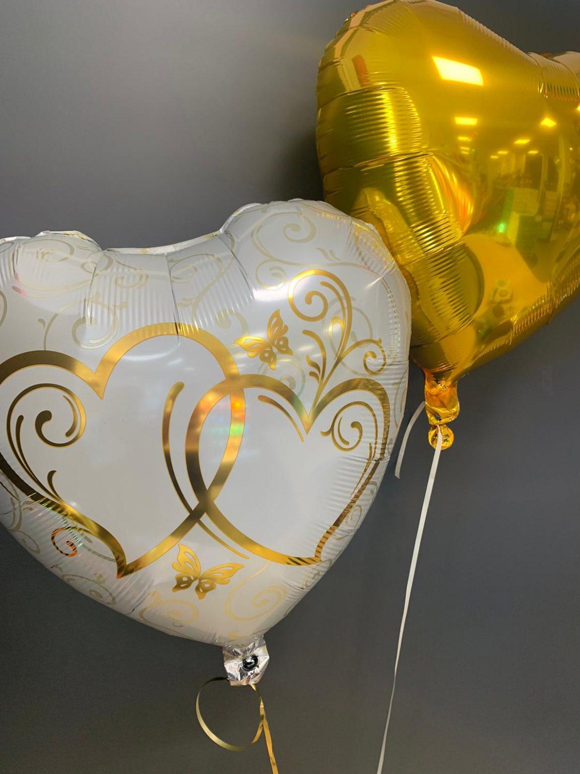 Ballon mit goldenen Herzen 1