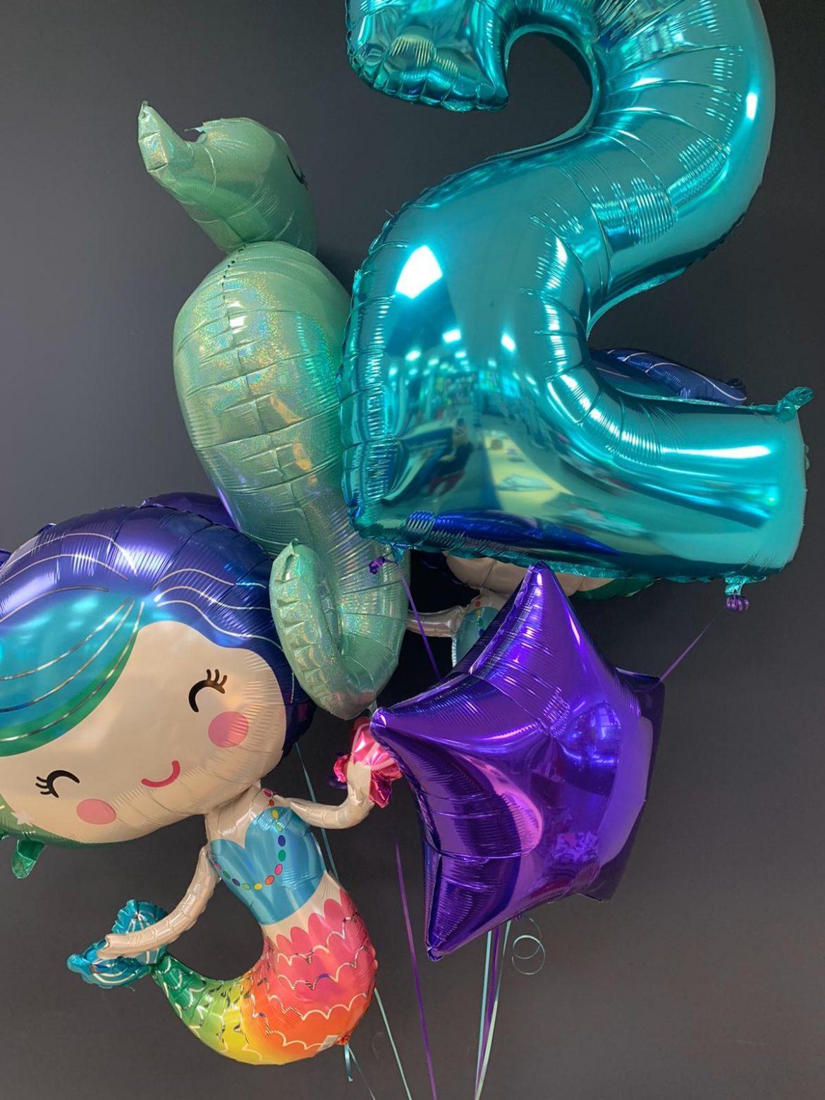 Zahl 2 mit Heliumballons € 9,90 und Meerjungfrau € 7,90 1