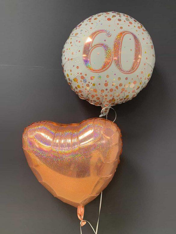 60. Geburtstag €5,50<br />Dekoballon rosegold €4,50 114