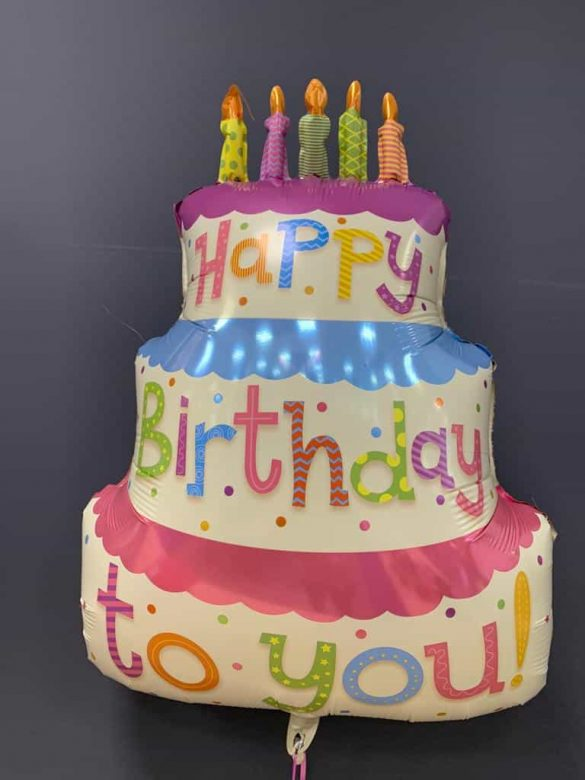 Happy Birthday Torte € 7,90<br />Heliumballon aus Folie 128