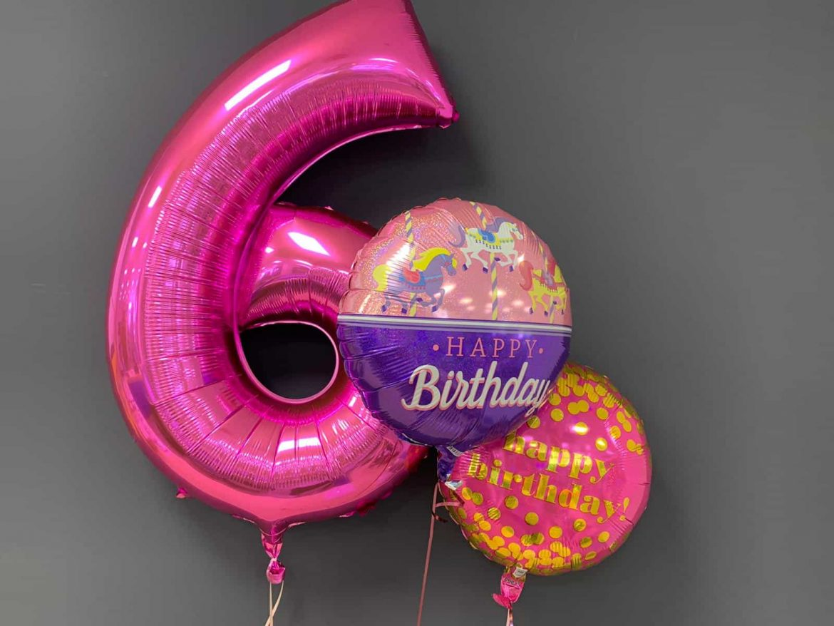 Heliumballon Zahl 6  € 9,90 in pink mit 2 Happy Birthday Ballons je € 5,50 1