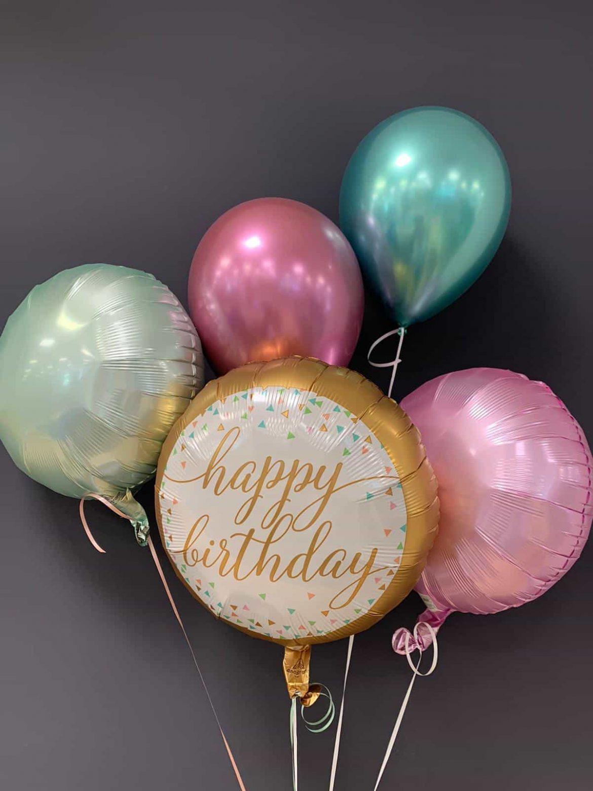 Happy Birthday € 5,50 <br />Dekoballons Folie € 4,50 <br />Chrome Latex € 2,30 1