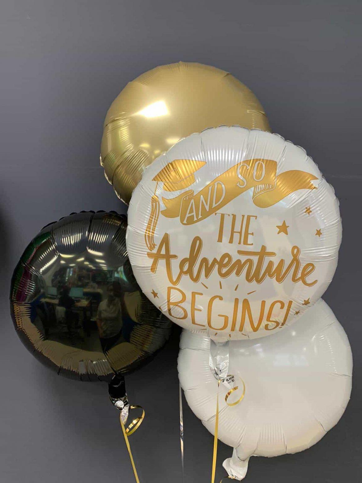 The Adventure Begins<br />Abschlussballon € 5,50<br />Dekoballons € 4,50 1