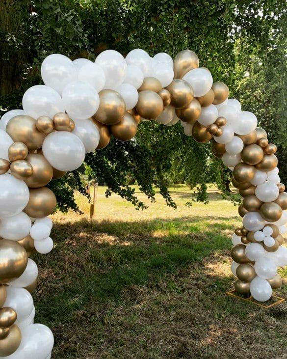 Ballonbogen weiss gold 7