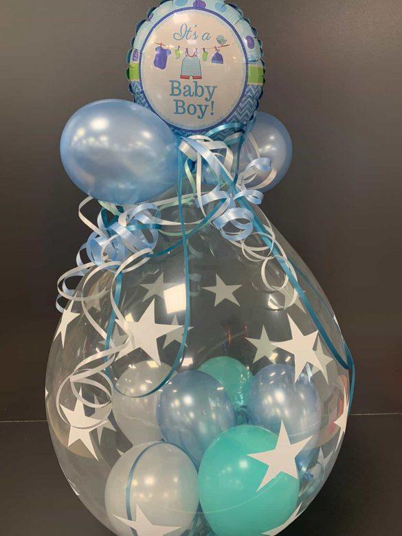 Ballongeschenk Baby blau 11